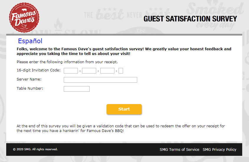 Famous Dave's Guest Feedback Survey