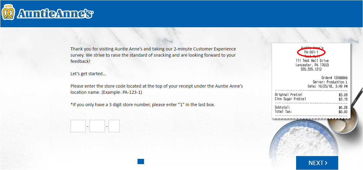 Auntie Anne's Customer Experience Survey