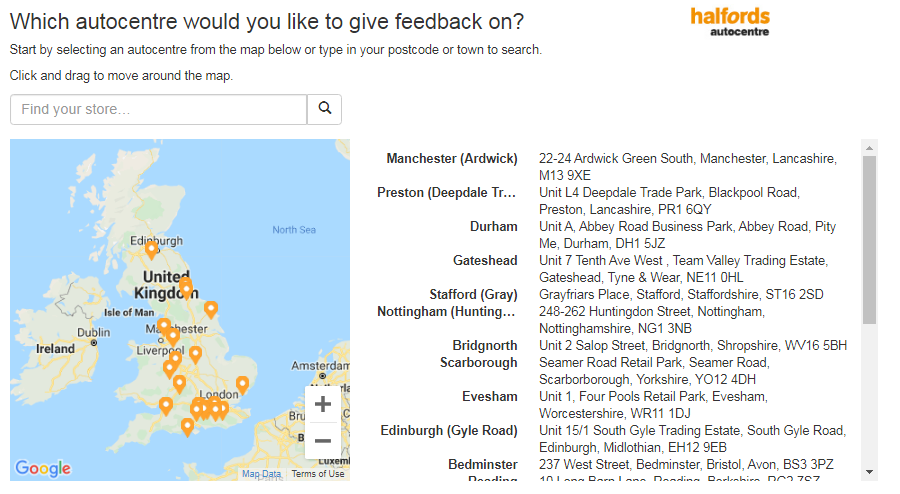 Halfords Autocentre Customer Experience Survey 2020