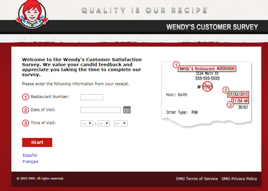 Talk To Wendy's Guest Satisfaction Survey